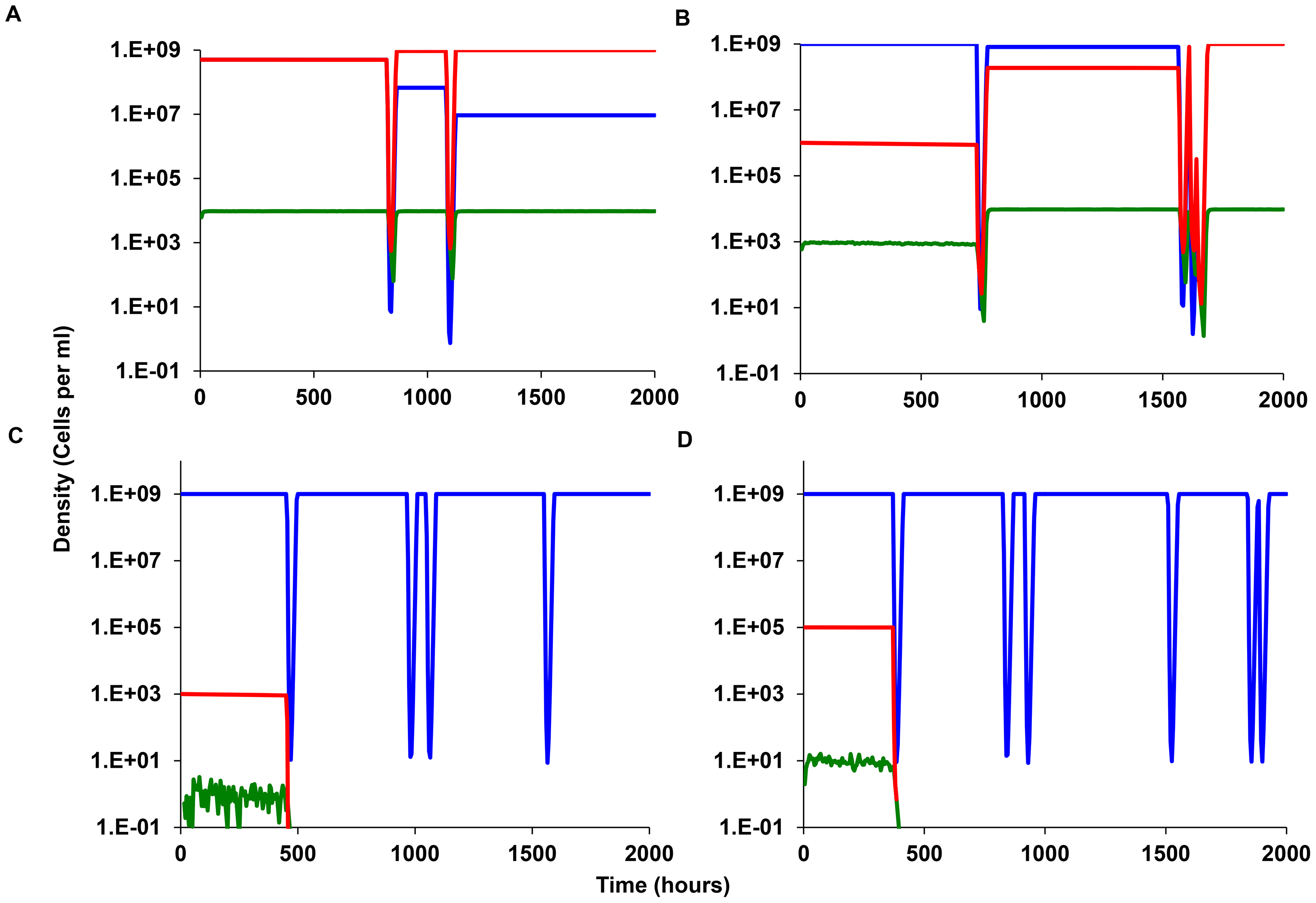 Simulation results, episodic selection for persistence in continuous culture.