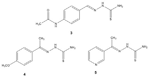 Fig. 2. Structures of thioacetazone (3), SRI-224 (4) and SRI-286 (5)v