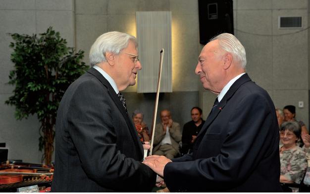 Profesor J. Blahoš s mistrem J. Sukem při oslavě významného životního jubilea Snímek L. Chodura