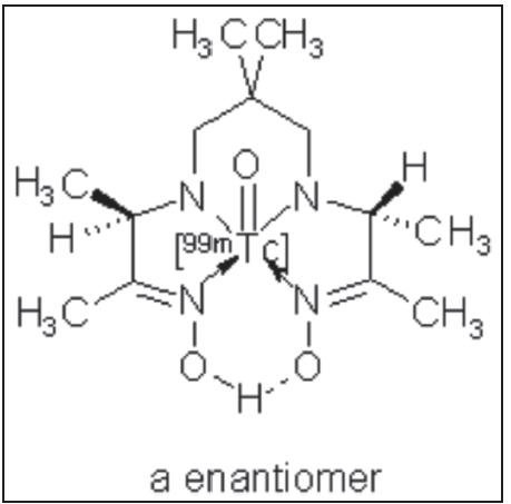 Struktura lipofilního oxo[<sup>99m</sup>Tc]technecium-HMPAO. Název IUPAC:  xo[<sup>99m</sup>Tc]technecium(V)-(3RS,9RS)-4,8-diaza-3,6,6,9-tetramethylundekan-2,10-dion-[(<i>E,E</i>)-dioxim].