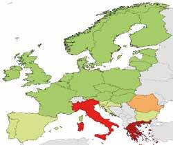 Klebsiella pneumoniae, rezistence ke karbapenemům, ČR 2015 0,3 %, Itálie 33,5 %, Řecko 61,9 %