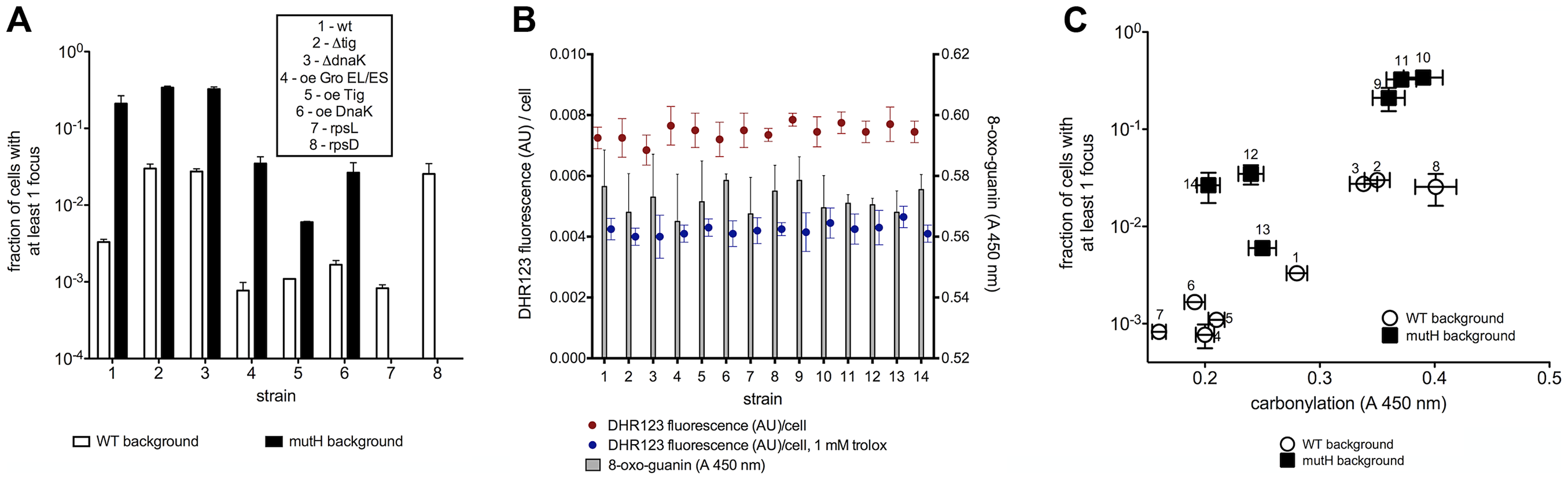 Mutation rate correlates with total proteome carbonylation.