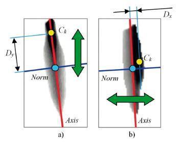 Schéma a popis pohybu těžiště během jednoho kmitu hlasivek: