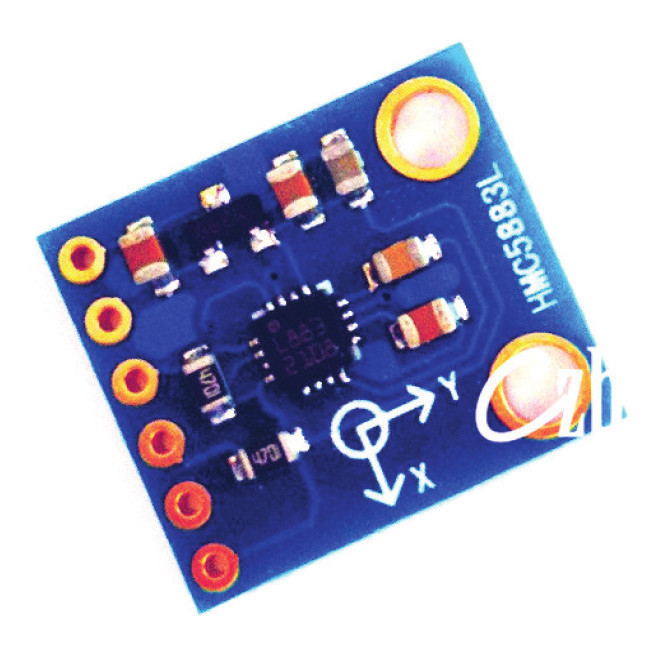 Fig. 4: 9DOF sensor module: 6DOF ITG/MPU 6050 on left and 3DOF compass HMC5883L on right.