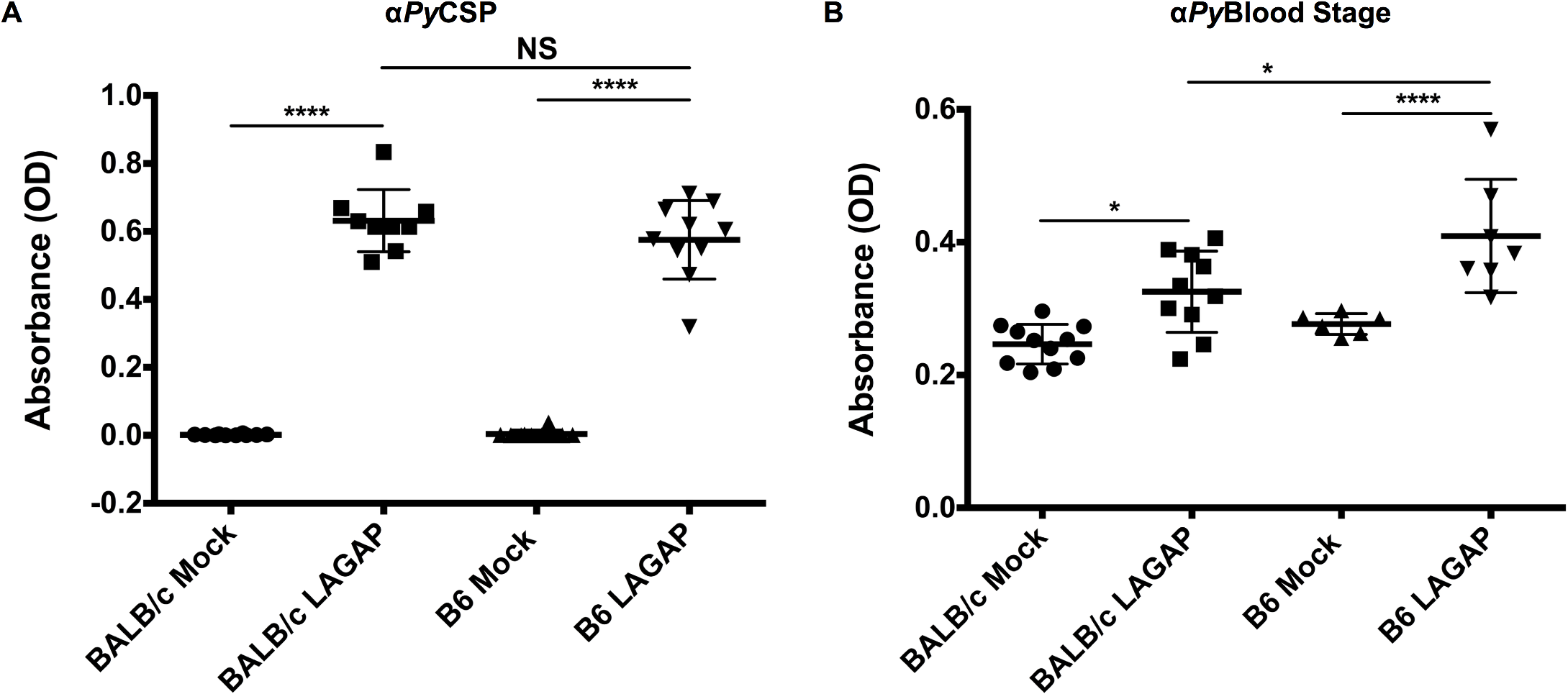 Immunization of C57BL/6 and BALB/cJ mice with LAGAP elicits antibodies against both sporozoites and BS parasites.