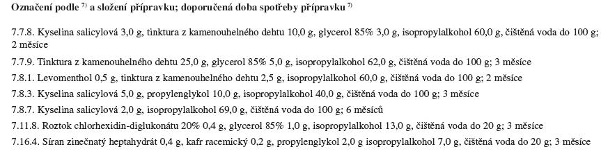 Přípravky k vnější aplikaci obsahující isopropylalkohol podle<sup>7)</sup>