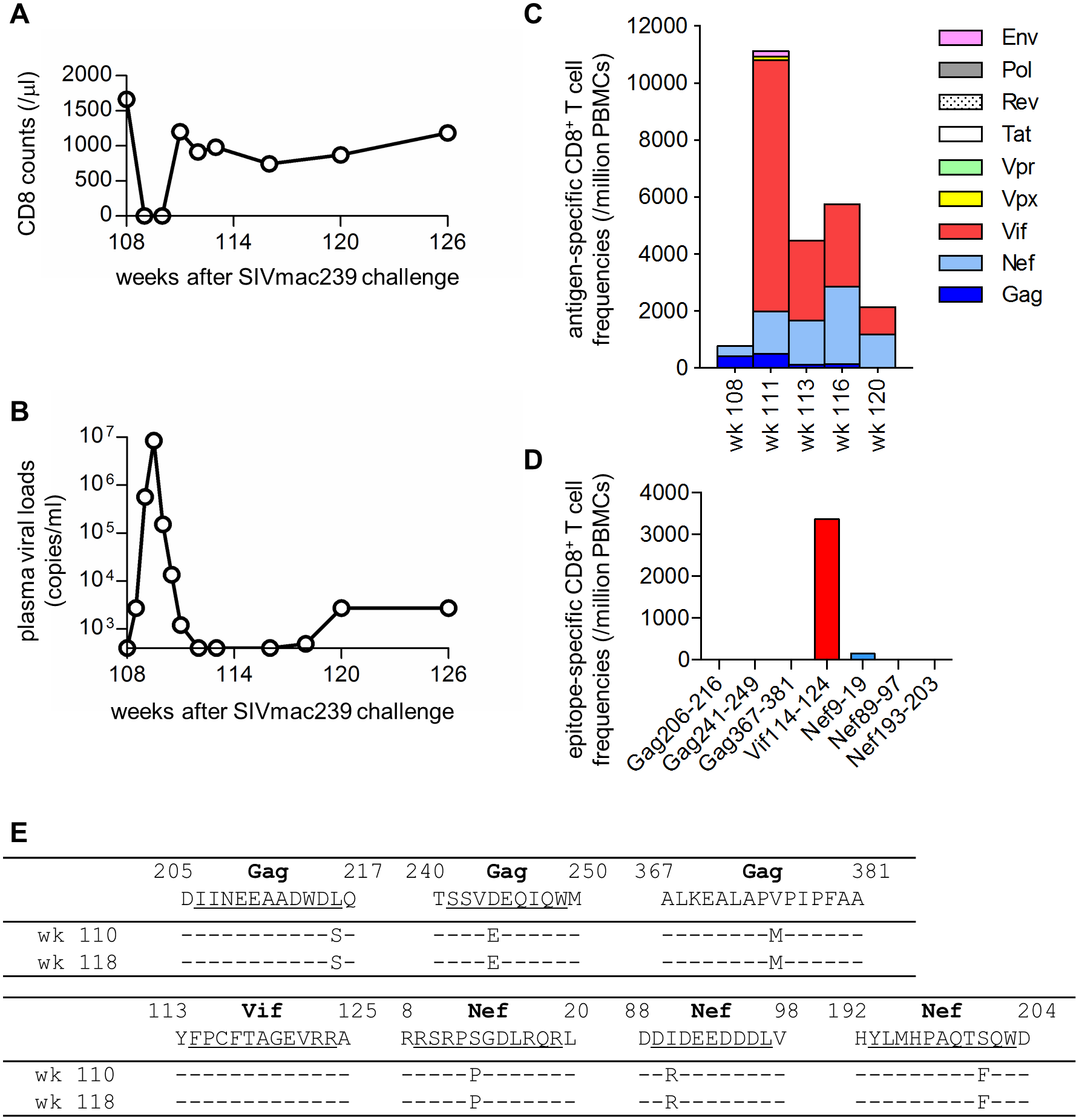 Virological and immunological analyses in macaque R09-009 following CD8<sup>+</sup> cell depletion.