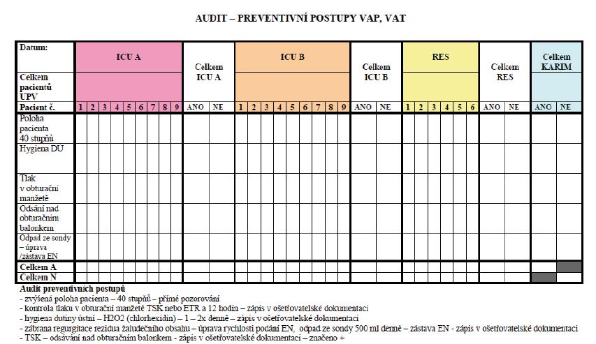 Formulář používaný k auditu dodržování zavedených preventivních opatření proti vzniku VAP na KARIM ÚVN
