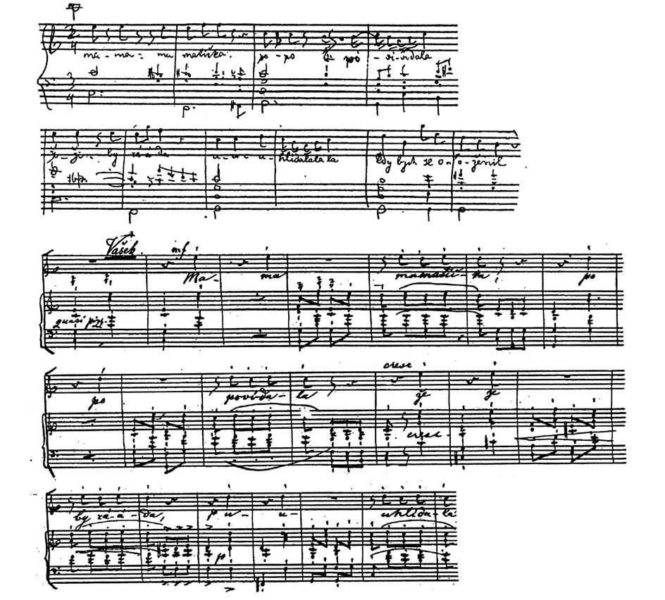 První náčrtek (16) začátku Vaškovy vstupní árie (nahoře) a konečné znění téhož místa ve Smetanově rukopisu klavírního výtahu z roku 1872 (dole).