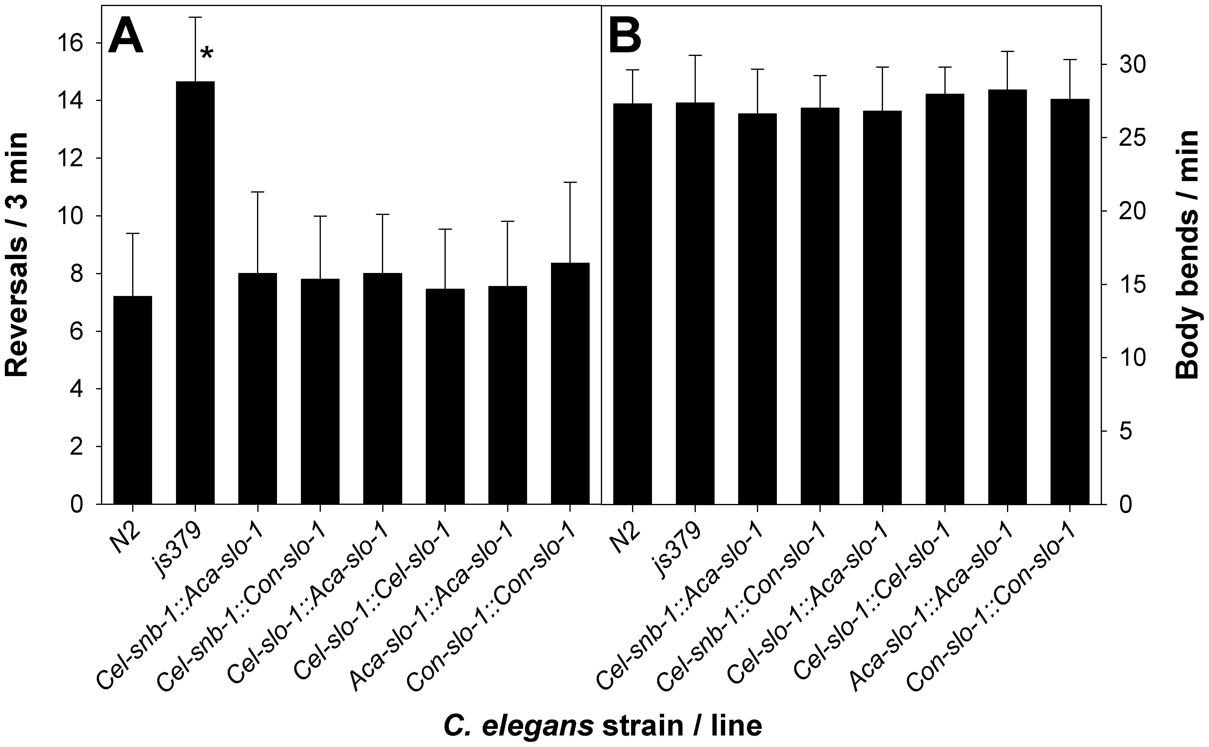 Behavioural phenotype of transgenic <i>C. elegans</i>.