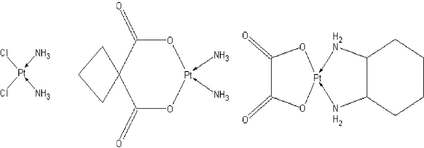Strukturní vzorce platnatých komplexů využívaných jako cytostatika (a) cisplatina, (b) karboplatina, (c)oxaliplatina.