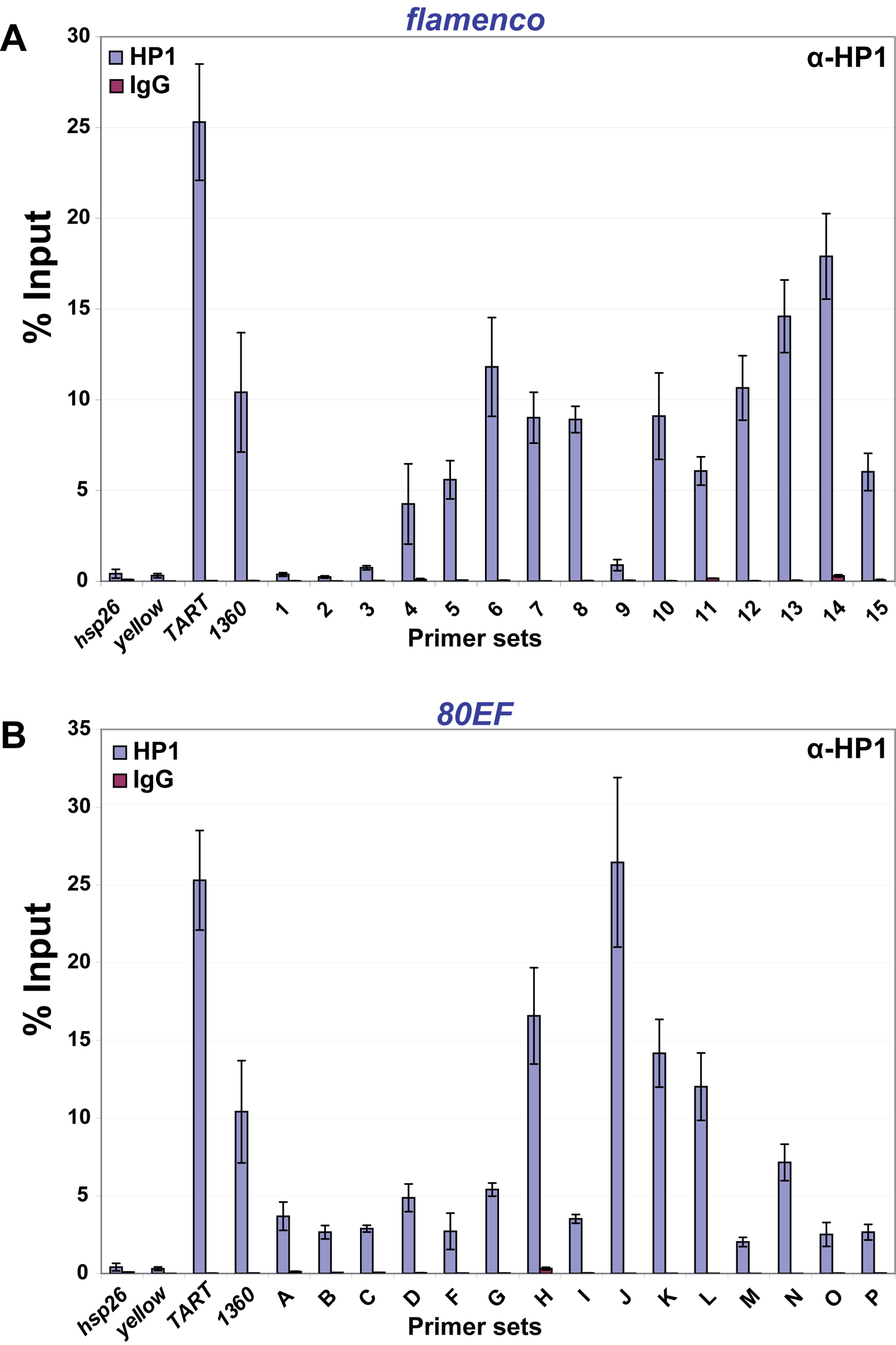 HP1 associates with chromatin at piRNA clusters in ovaries.