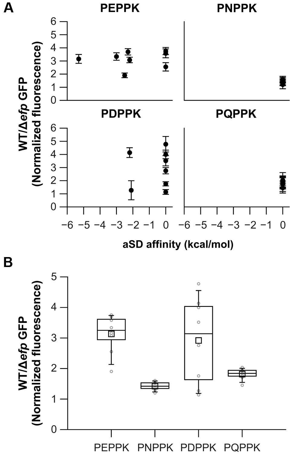 Effects on translation pausing of aSD affinity and the identity of the amino acid preceding PPX.