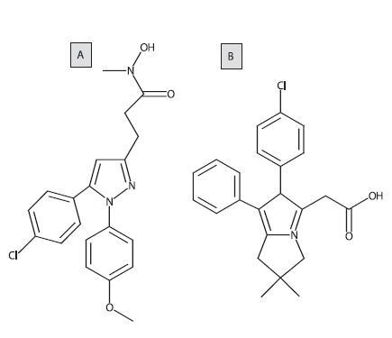Štruktúrny vzorec tepoxalínu a likofelónu (A: tepoxalín, B: likofenón)