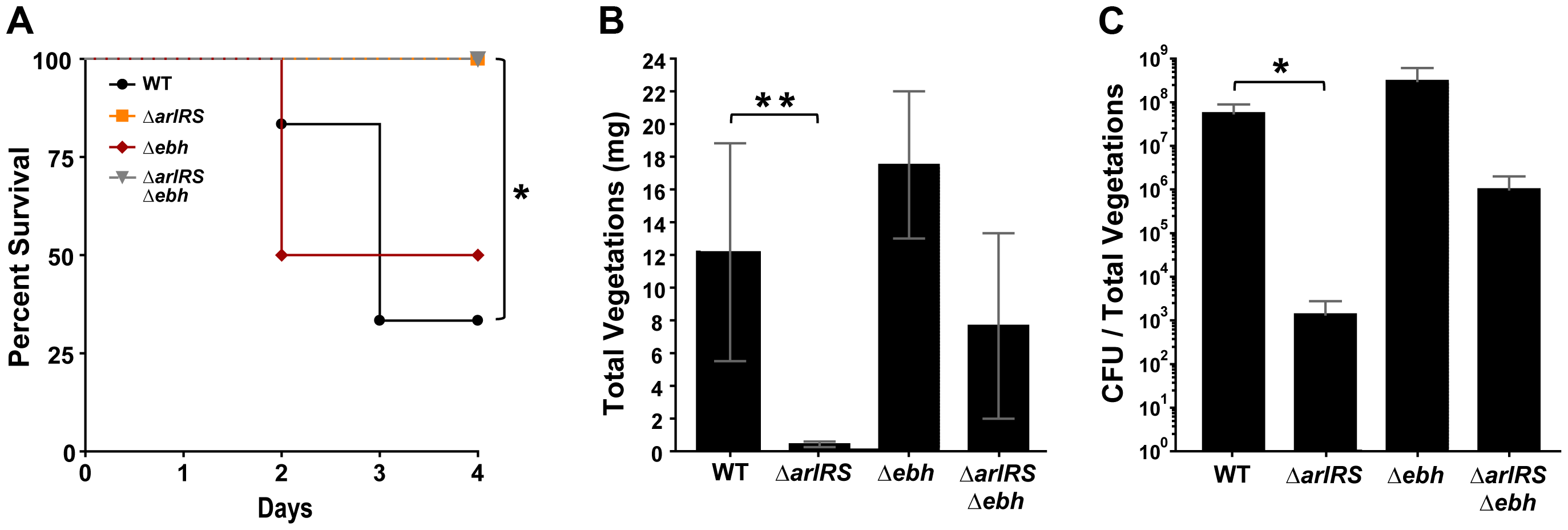 Strains lacking ArlRS are defective in a rabbit model of sepsis and endocarditis.