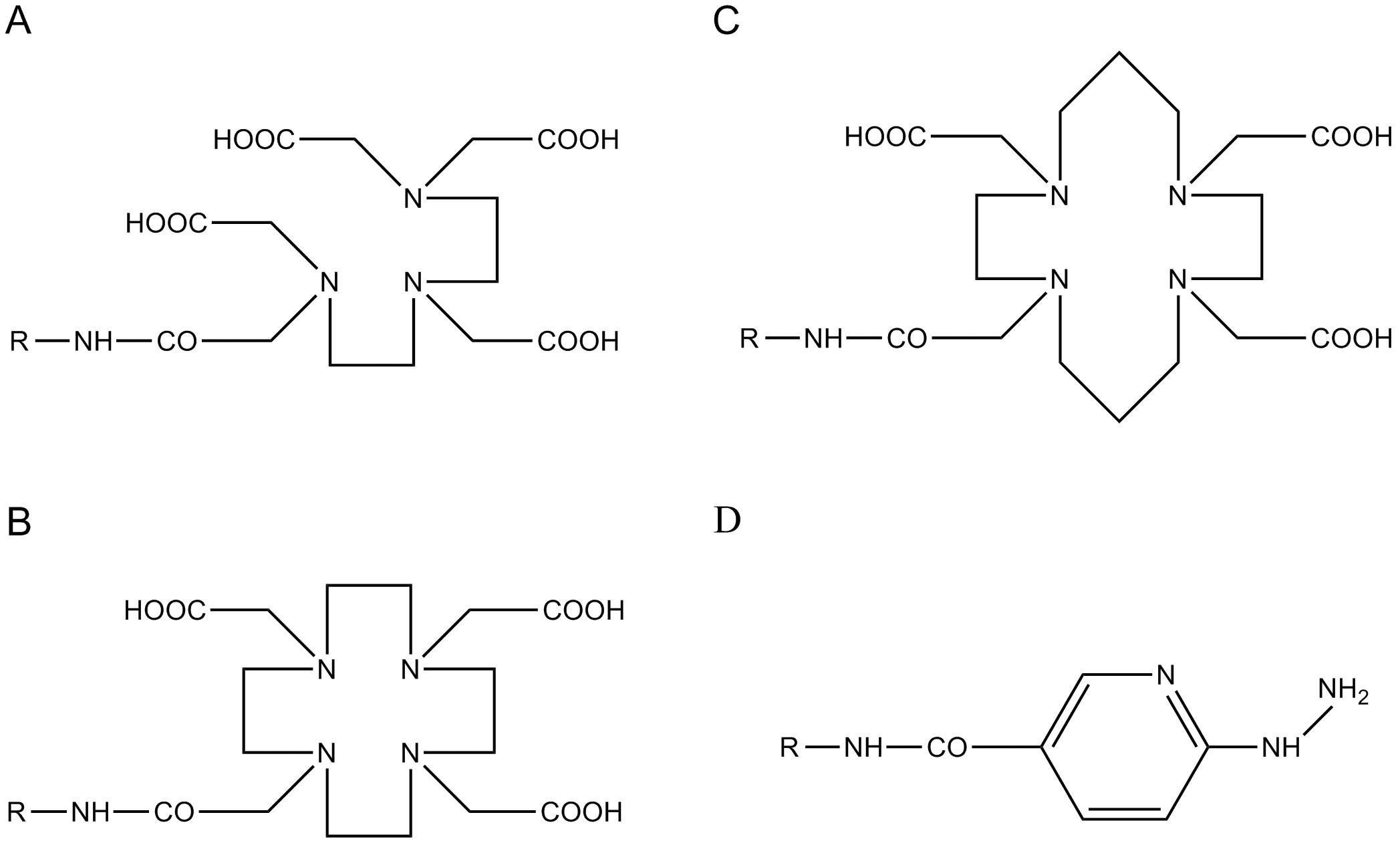 Bifunkční chelatační činidla A – DTPA – diethylentriaminpentaoctová kyselina; B – DOTA – 1,4,7,10–tetraazacyklododekan– N,N',N'' ,N'''– tetraoctová kyselina; C – TETA – 1,4,8,11–tetraazacyklotetradekan– N,N',N'' ,N'''–tetraoctová kyselina; D – HYNIC – hydrazinonikotinamid