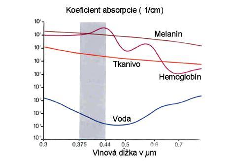 Závislosť absorpcie svetla od jej vlnovej dĺžky pre rôzne súčasti tkaniva. Sivý stĺpec znázorňuje vlnovú dĺžku svetla využívanú pri autofluorescencii (upravené podľa 6).