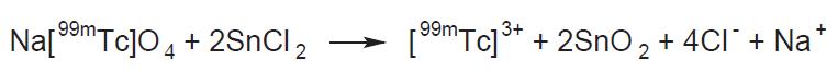 <i>Reakce vzniku [<sup>99m</sup>Tc]technecia(III) v roztoku.</i>