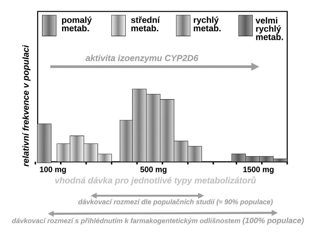Variabilita vhodného dávkování propafenonu v závislosti na aktivitě CYP2D6 (9)