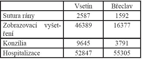 Bodové ohodnocení nákladů na ošetření pacientů s úrazem hlavy v ebrietě ve Vsetíně a Břeclavi