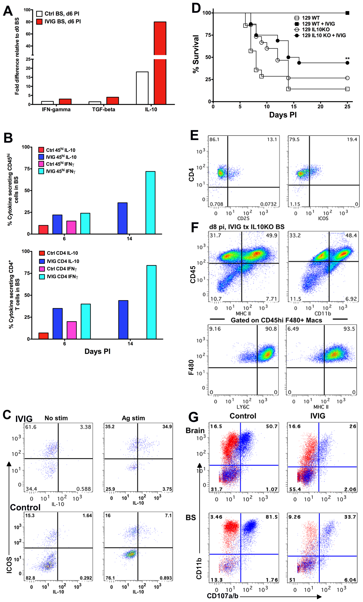 IL-10 is required for IVIG's anti-inflammatory effects in the CNS.