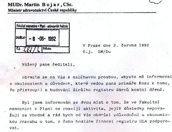 Negativní stanovisko MZd k zakládání registru v červnu 1992