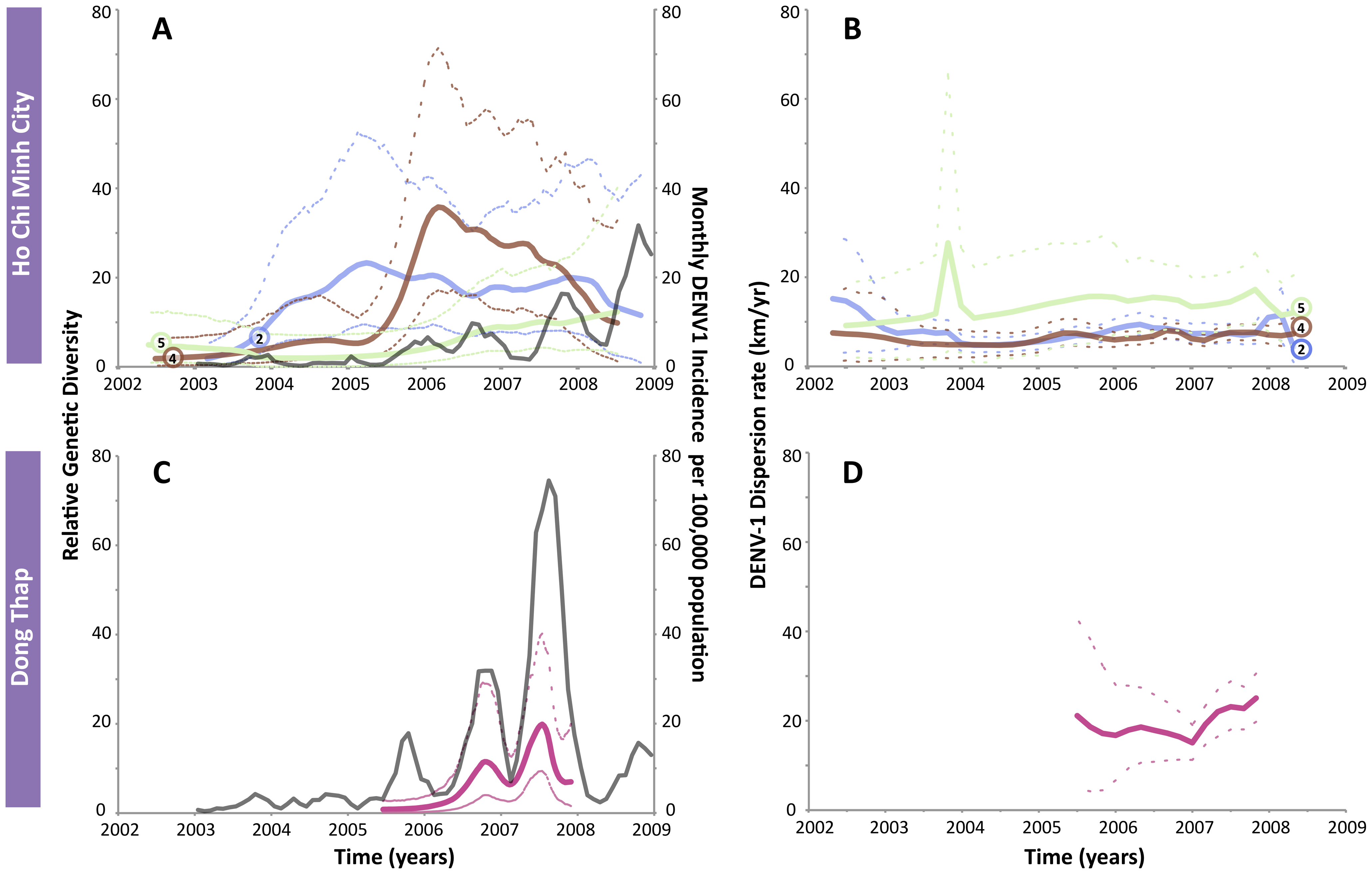 The genetic diversity, dengue incidence rate, and dispersion rates of DENV-1 in HCMC and Dong Thap.