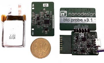 Fig. 1: Main parts of the device: battery (on the left), analog PCB (top side; on the middle) and configuration of digital and analog PCB with (analog from bottom side on top; on the right of the figure).