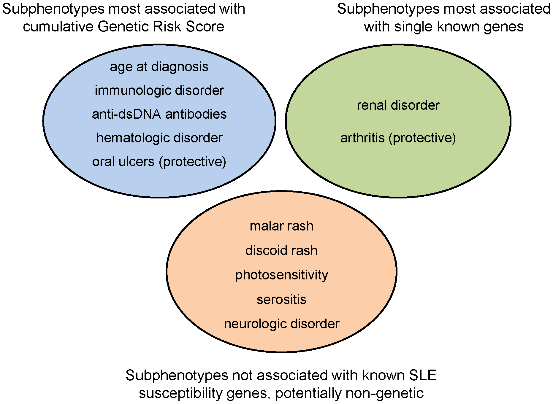 Categorization of SLE subphenotypes by strongest association with currently known susceptibility loci: genetic risk score, single locus, or none.