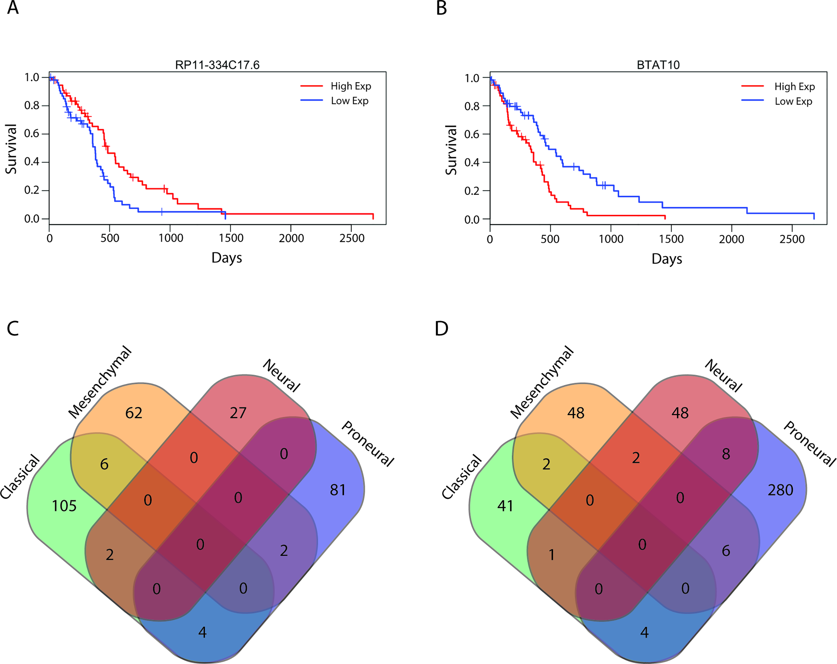 Survival-associated lncRNAs in GBMs and GBM subtypes.