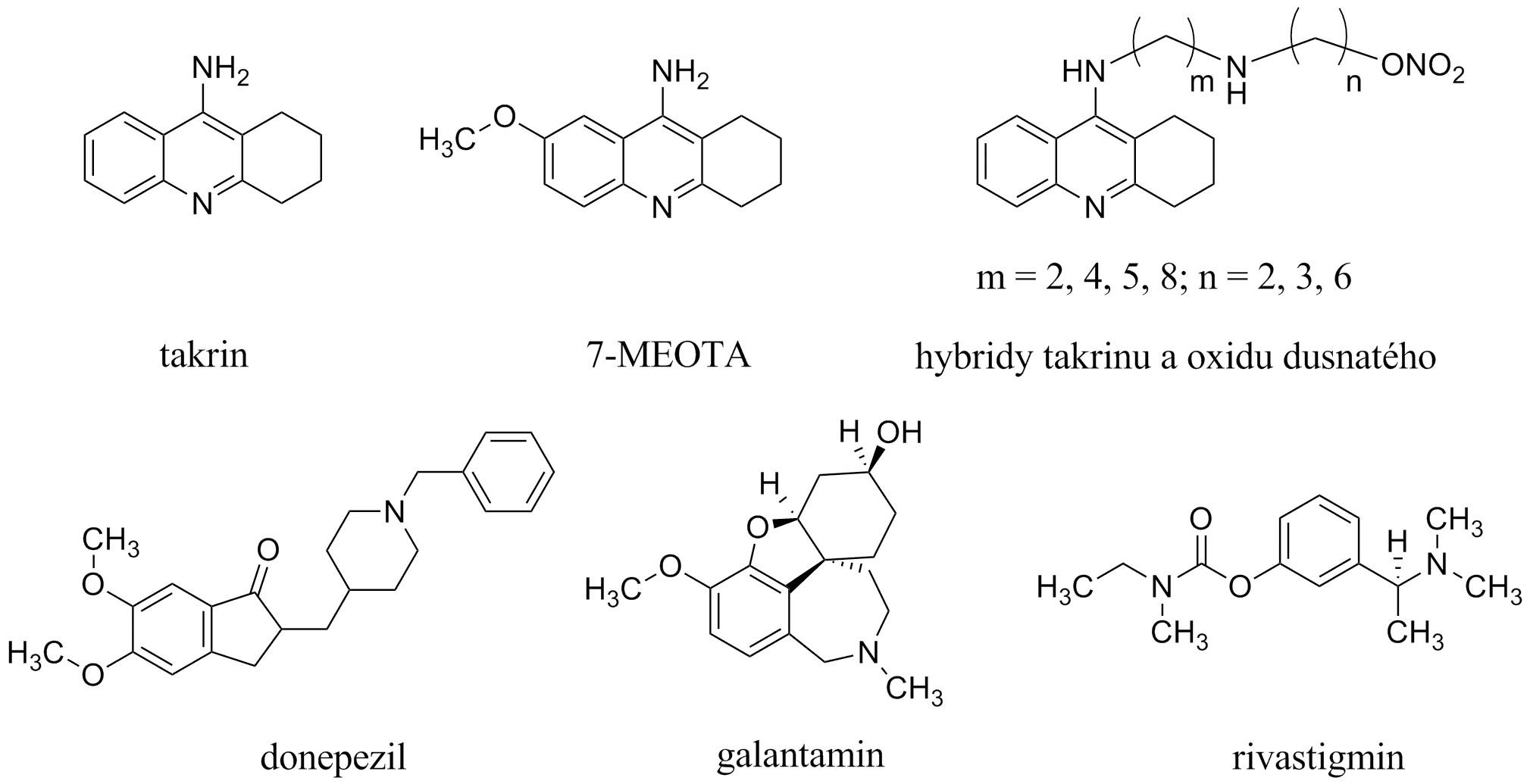 Struktury inhibitorů acetylcholinesterasy
