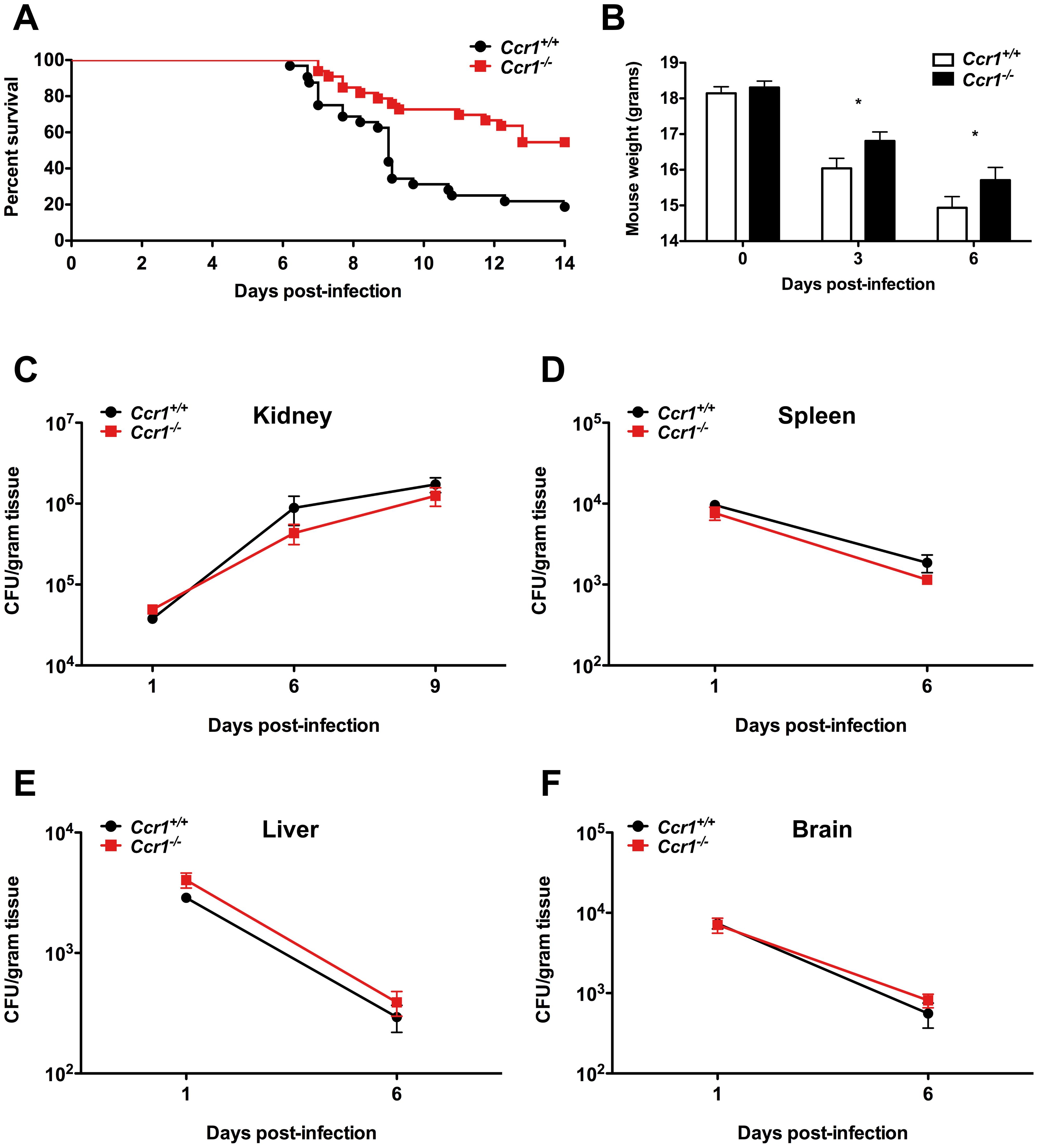 Lack of Ccr1 improves survival without affecting tissue fungal burden in a mouse model of invasive candidiasis.