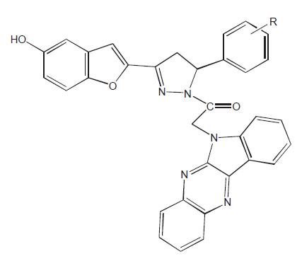 Příklad spojení studie in vitro a in vivo. R je o-OH, p-OH, o-OCH<sub>3</sub> , p-OCH<sub>3</sub> , p-N(CH<sub>3</sub>)<sub>2</sub> , o-COOH, m-NO<sub>2</sub>, o-NO<sub>2</sub>, o-OH a současně p-OCH<sub>3</sub>, p-Cl, o-Cl, H, furyl, CH=CHAryl