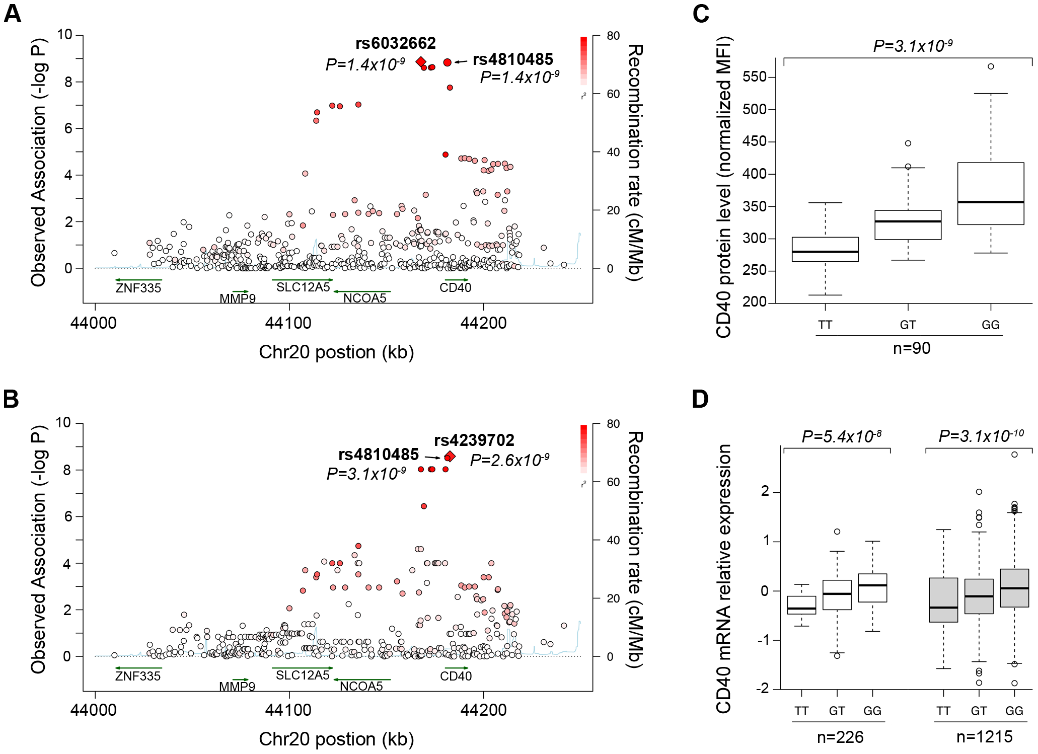 Genetic data on risk of RA and CD40 protein levels.