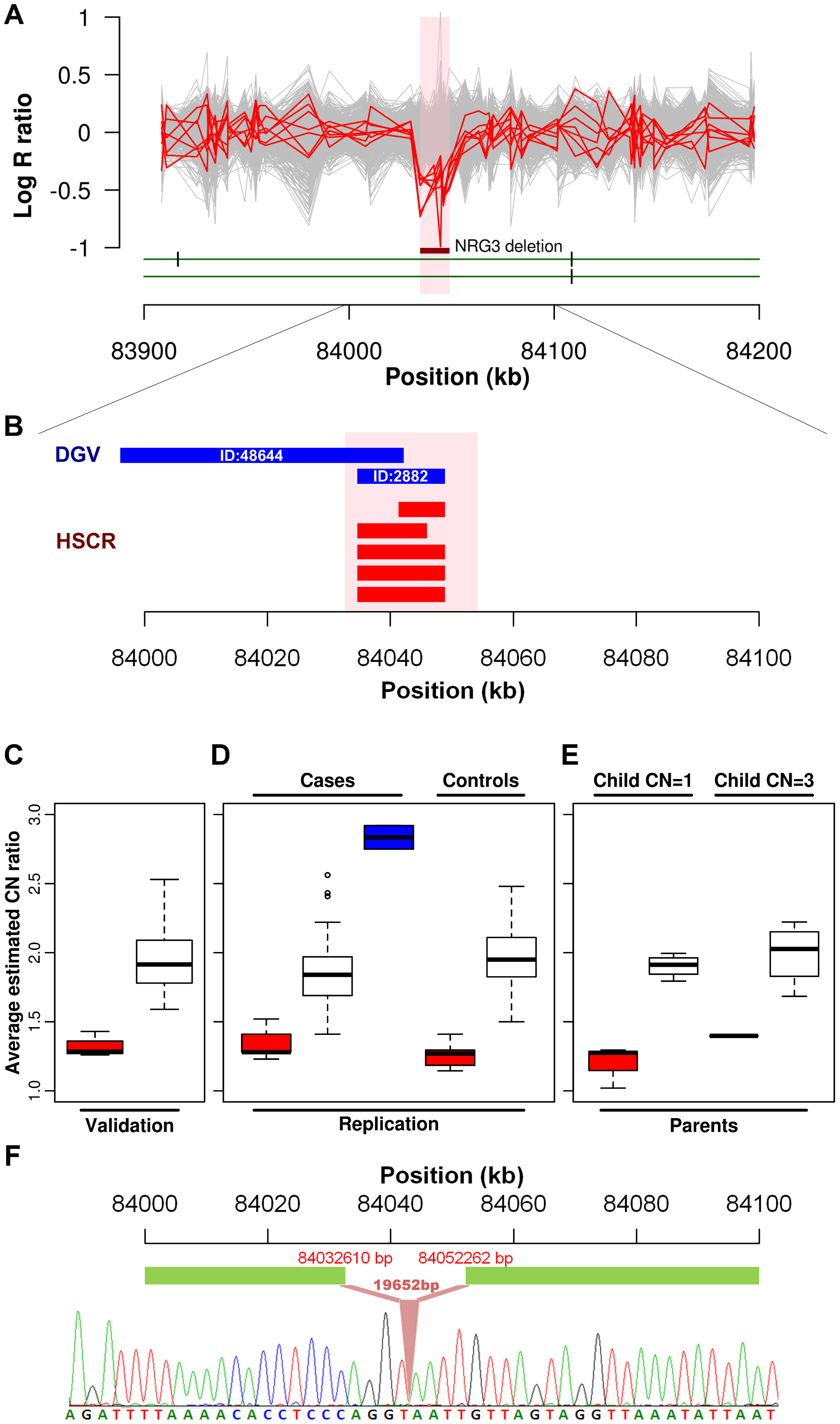 <i>NRG3</i> deletions identified in HSCR patients.