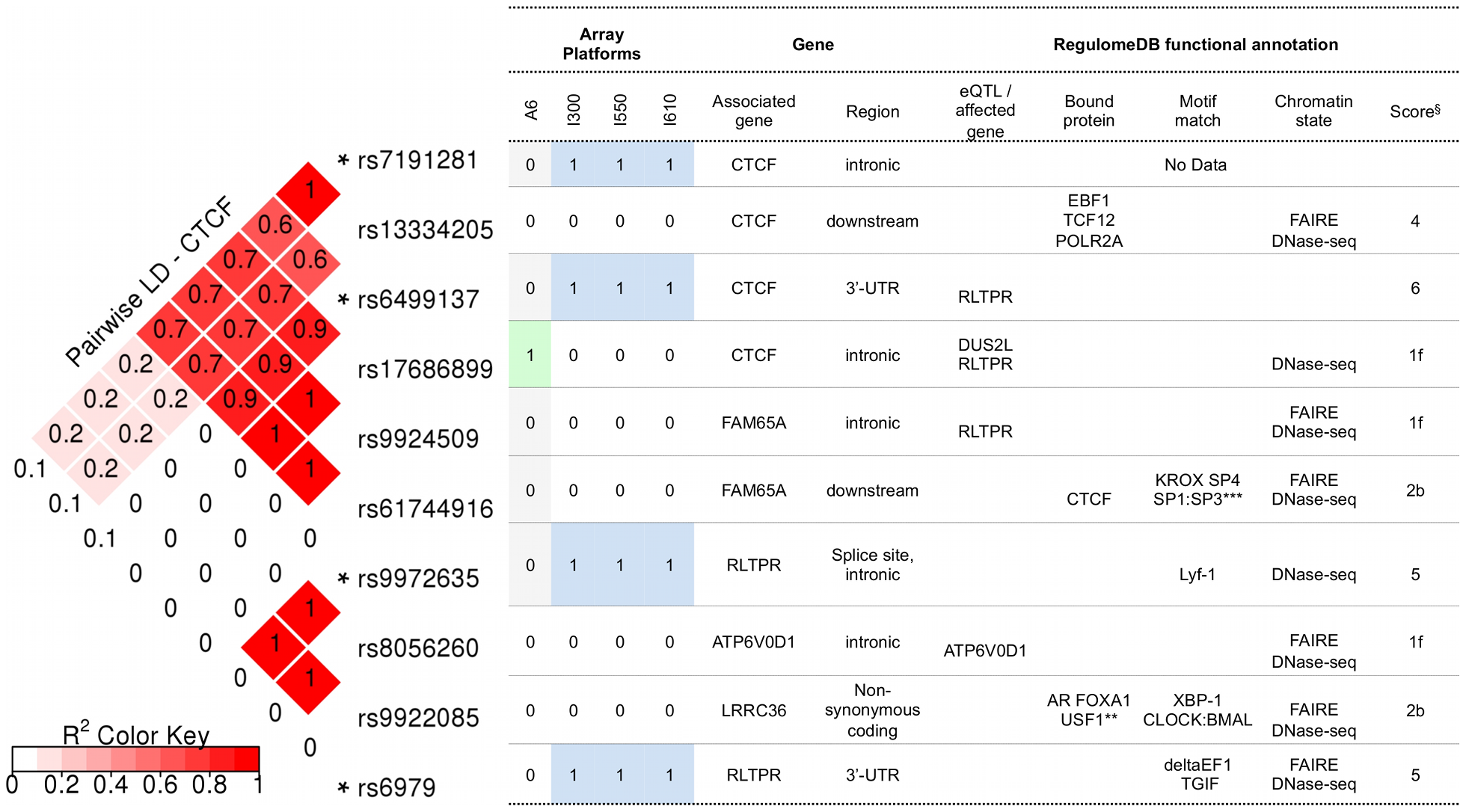 RegulomeDB functional annotation for SNPs in CTCF and its regulatory regions.
