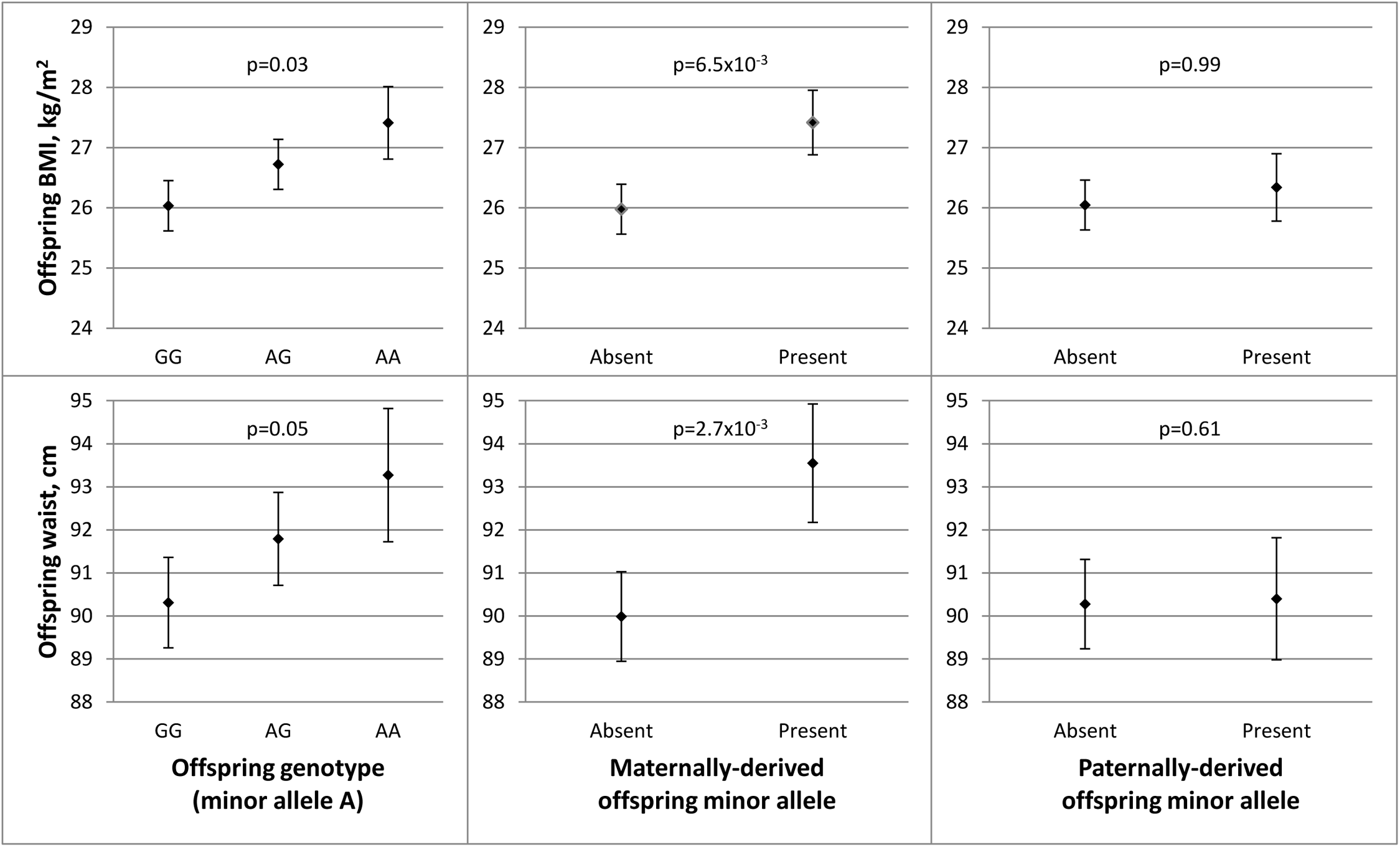 Parent-of-origin effects of <i>APOB</i> SNP rs1367117 on adiposity traits in JPS.