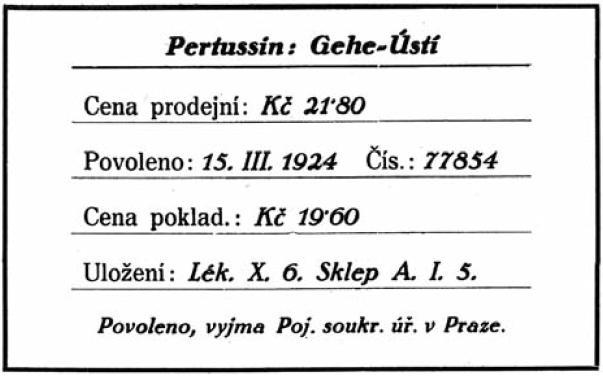 Kartotéční lístek speciality podle návrhu J. S. Nováka (převzato z<sup>4)</sup>)