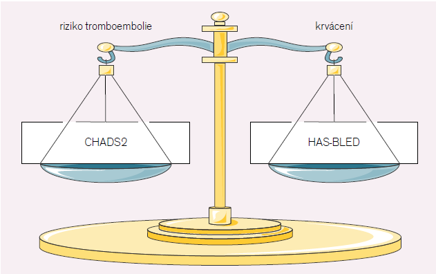 Rovnováha tromboembolického a krvácivého rizika vyjádřená klinickými skorovacími systémy.