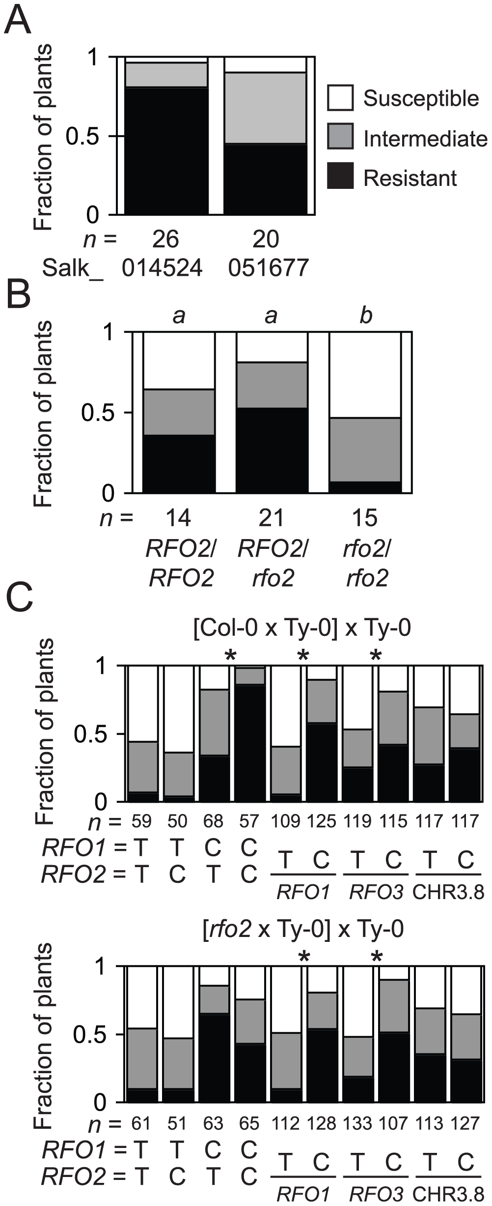 T-DNA insertion allele <i>rfo2</i> abolishes <i>RFO2</i> QTL.