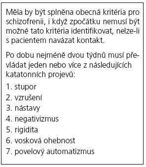 Diagnostická kritéria dle MKN-10 pro katatonní schizofrenii.