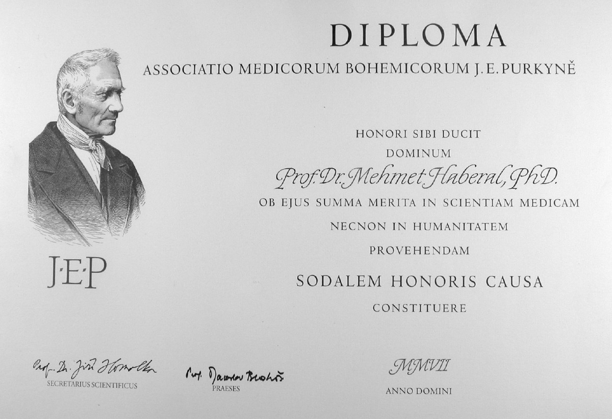 Fig. 4. Certificate presented when I was awarded an Honorable Membership from the Czech Medical Association, Prague, Czech Republic, on September 30, 2008
