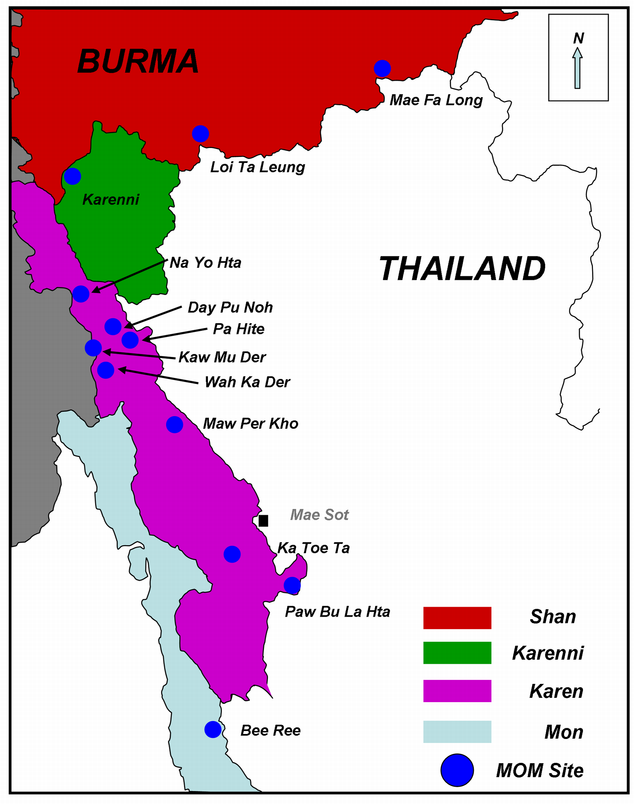 Map of Eastern Burma showing the MOM Project Communities.