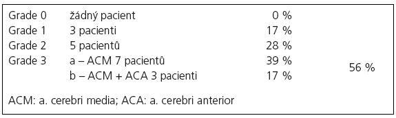 Shrnutí angiografických výsledků na základě plnění bypassů podle klasifikace Schmiedeka [4].