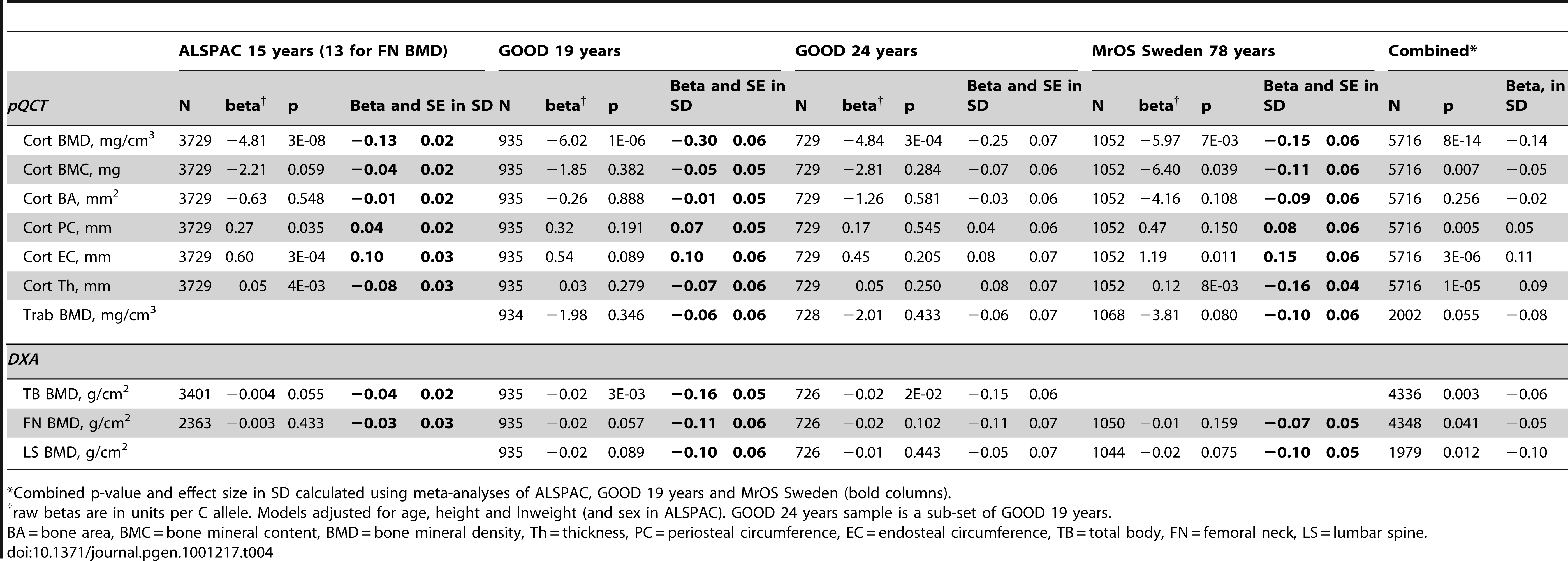 rs1021188 associations with bone parameters at different ages and meta-analyses results (combining ALSPAC, GOOD 19, and MrOS Sweden).