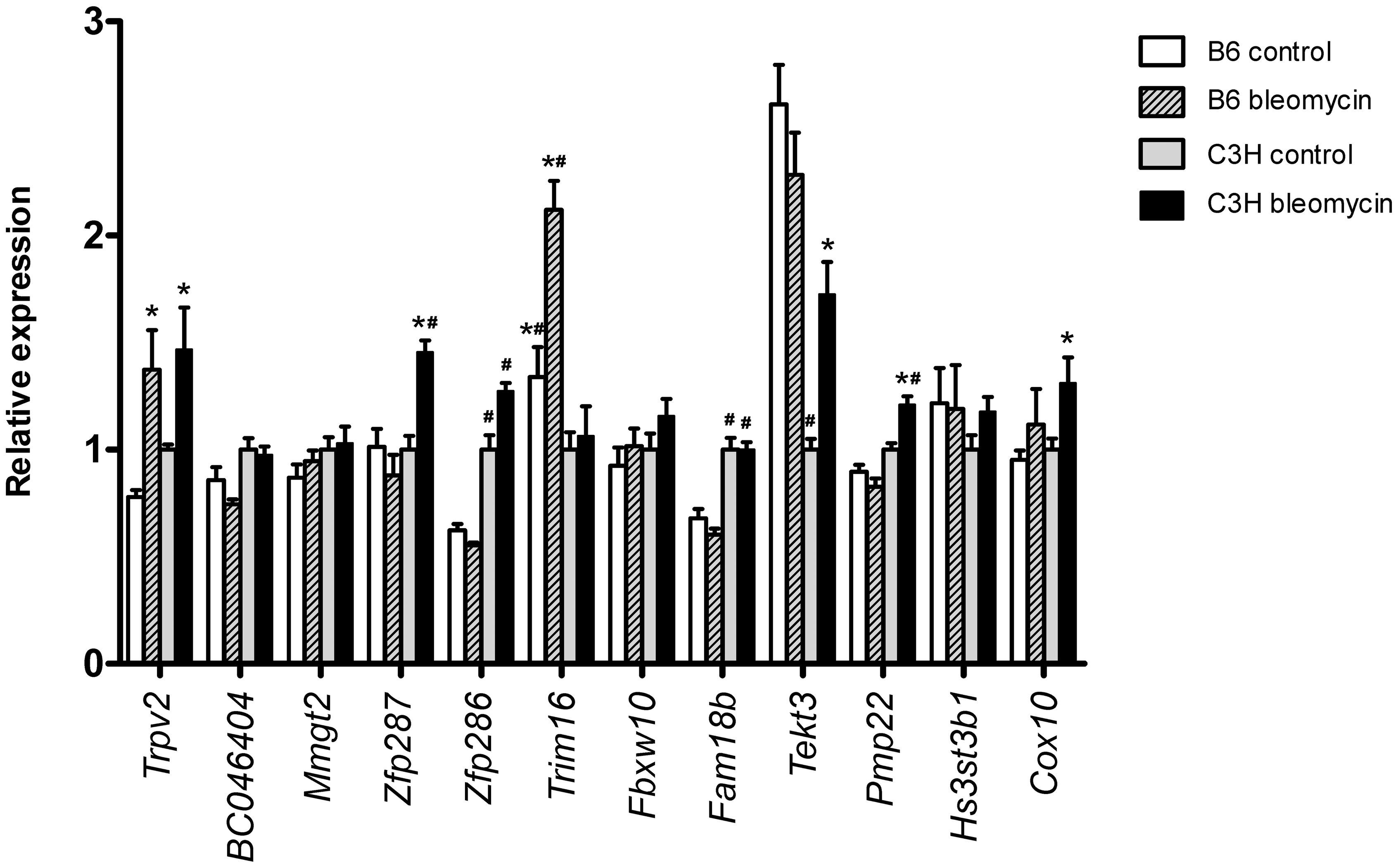 Pulmonary expression of reduced region <i>Blmpf2</i> genes.
