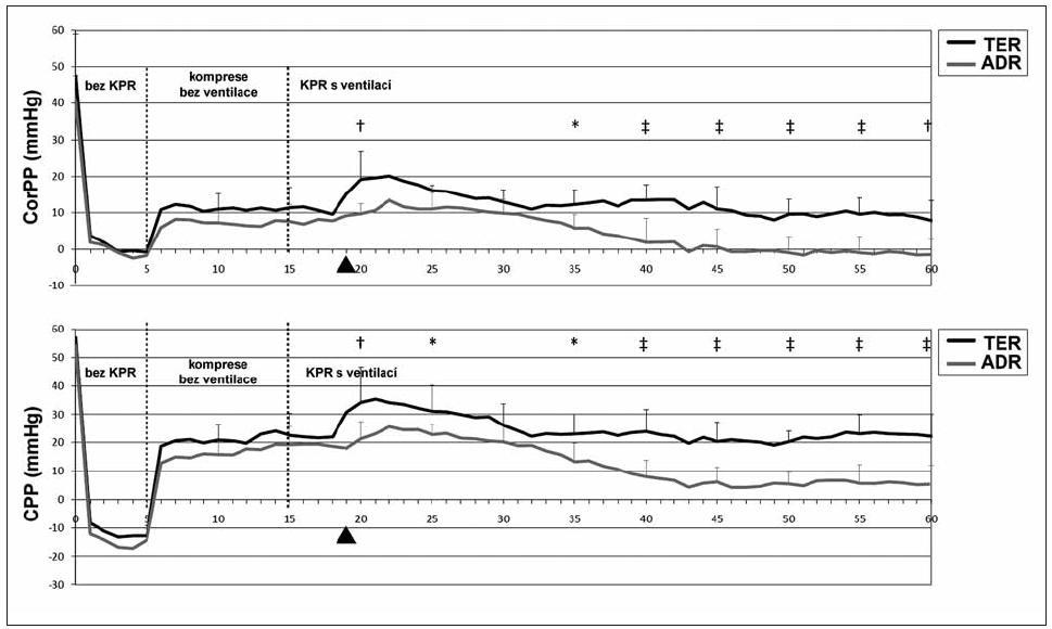 Koronární perfuzní tlak (CorPP) a mozkový perfuzní tlak (CPP) v obou skupinách Plná šipka znázorňuje čas podání terlipresinu (skupina TER), respektive placeba (skupina ADR). KPR – kardiopulmonální resuscitace, *p < 0,05, †p < 0,01, ‡p < 0,001
