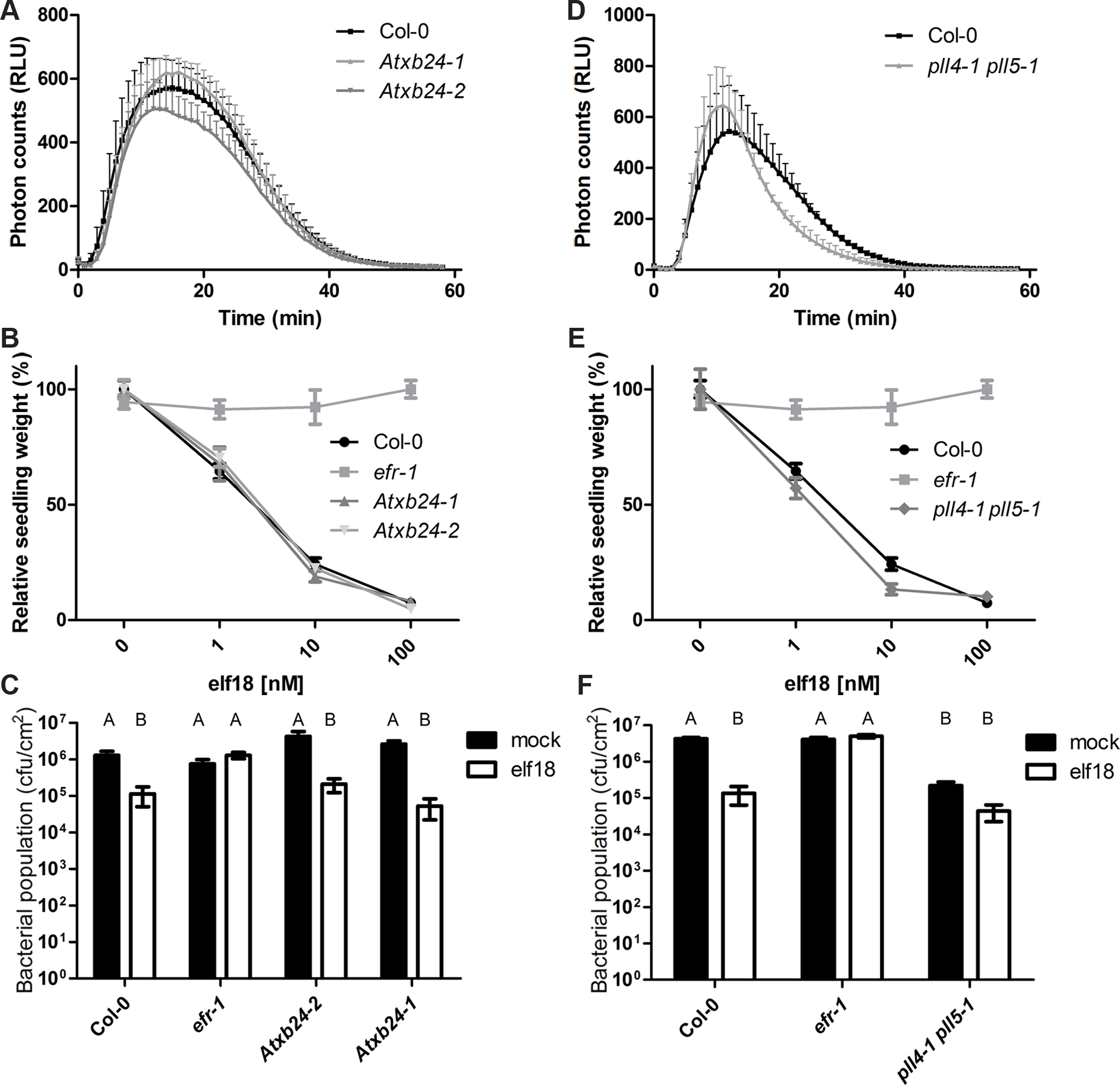 AtXB4 and PLL4/5 play a role in EFR-mediated signaling.