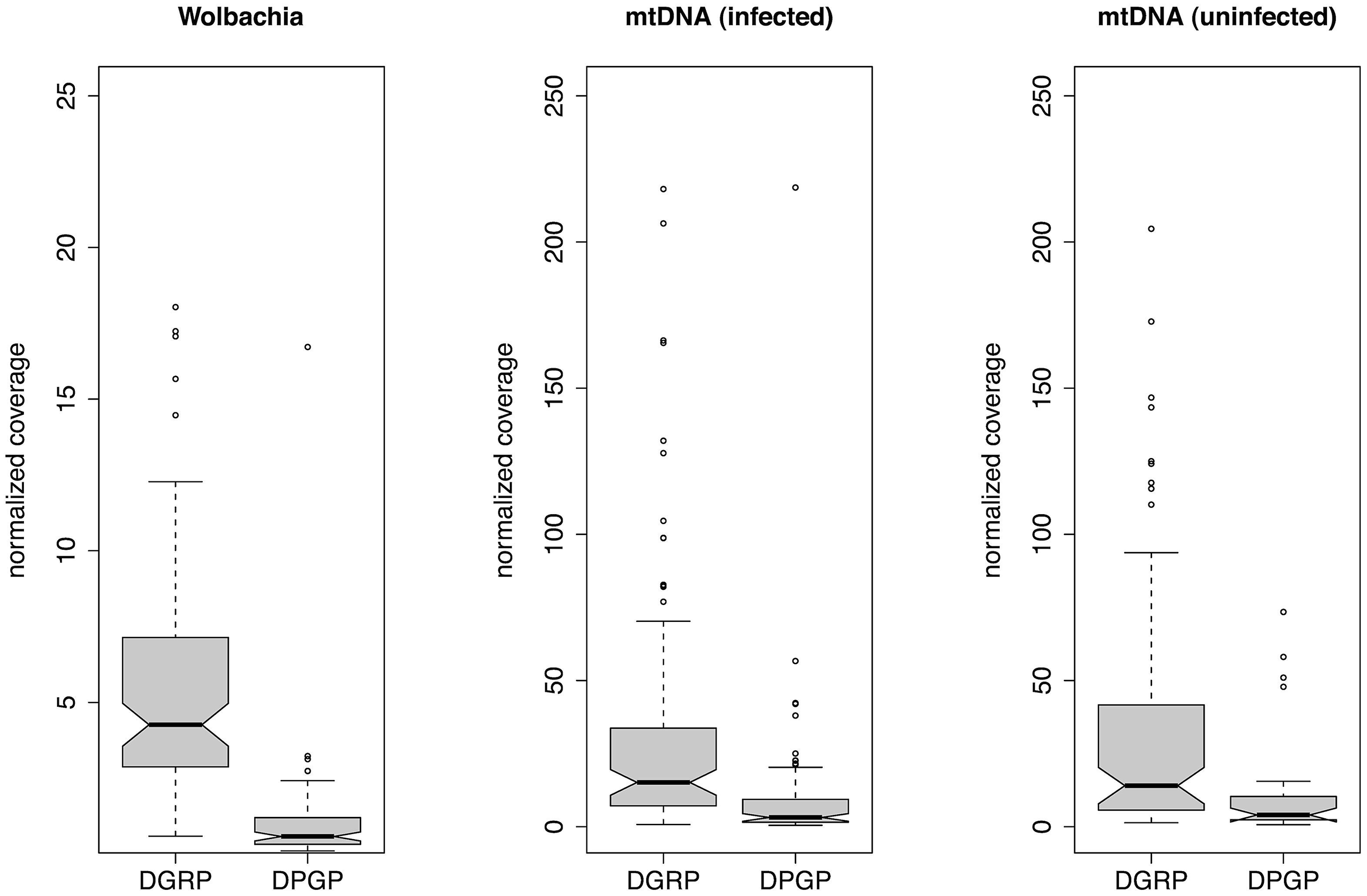 Relative depth of sequencing coverage for <i>Wolbachia</i> and mtDNA assemblies.