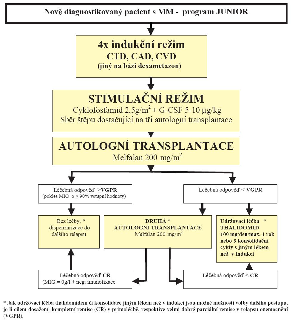 Tab. 9.1 Léčba mnohočetného myelomu pro pacienty do 65 let - primoléčba.
